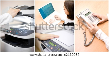 Office collage of four images - stock photo