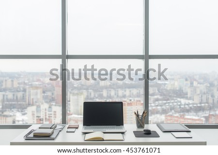 Office Comfortable Work Table Workplace Notebook Stock Photo