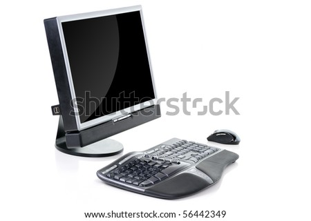 Office computer with mouse - stock photo