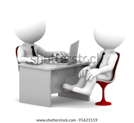 Office consultation. Isolated over white background - stock photo