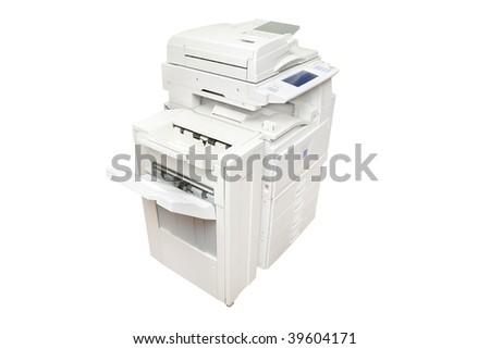 Office copier center under the white background - stock photo