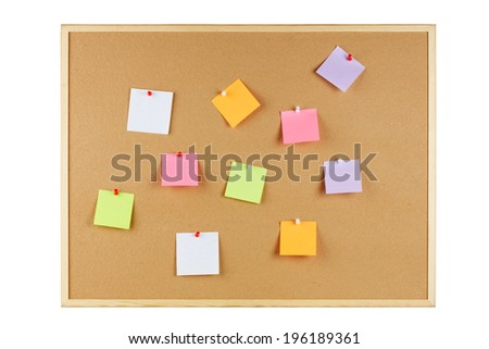 office cork board with  post it notes