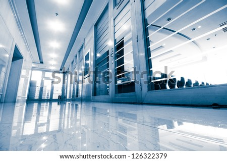 office corridor door glass - stock photo