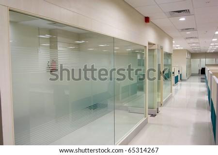 office corridor door glass - stock photo