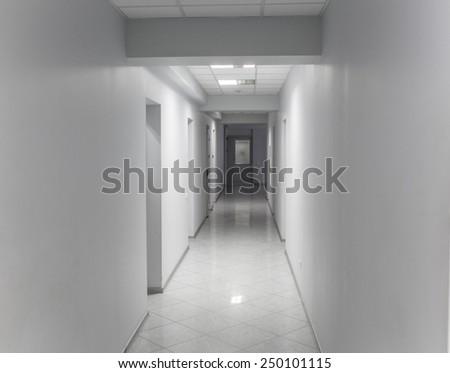 office corridor gray cold - stock photo