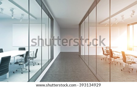 Office corridor, meeting rooms on both sides. Concept of business meeting. Filter, toned. Mock up. 3D render - stock photo