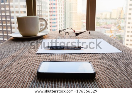 Office desk. - stock photo