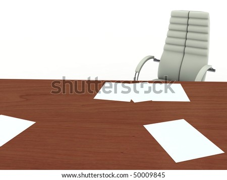 Office desk and armchair. Isolated On white - stock photo