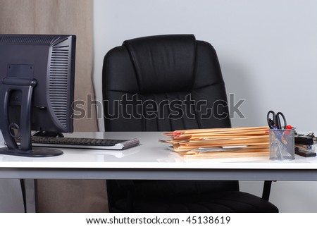 office desk and files