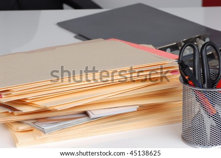 office desk and files - stock photo