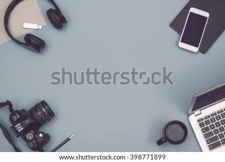 Office desk hero header image - stock photo