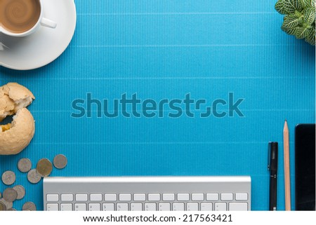 Office desk,Office supplies and coffee cup - stock photo