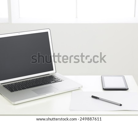 office desk. office supplies. copy space available - stock photo