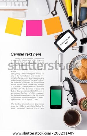 Office desk,on white background - stock photo