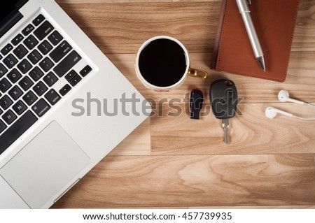Office Desk Table Top View No Stock Photo 457739935 Shutterstock