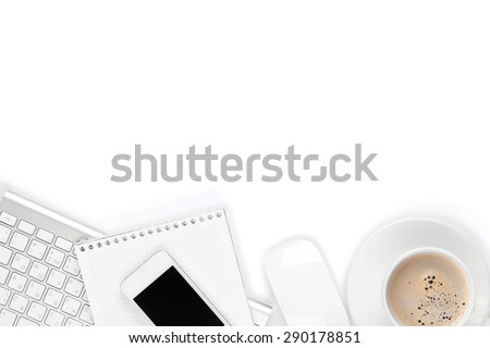 Office desk table with computer, supplies and coffee cup. Isolated on white background - stock photo