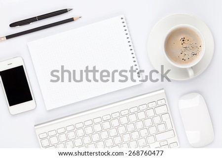 office space coffee mug. plain coffee office desk table with computer supplies and coffee cup top view  copy space throughout space coffee mug p
