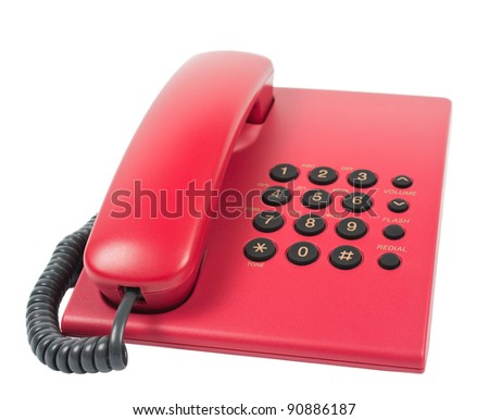 Office desk telephone. Isolated on white background.  No shadows on the background. - stock photo