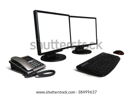 office desk with computer and telephone isolated on white - stock photo