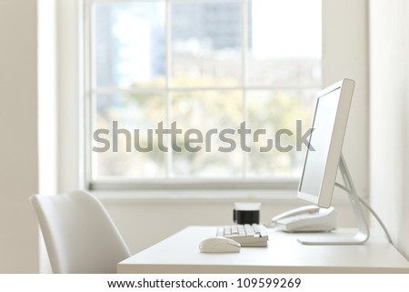 Office desk with the PC - stock photo