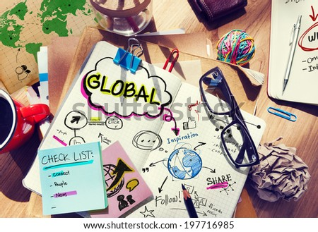 Office Desk with Tools and Notes About Global Communication - stock photo