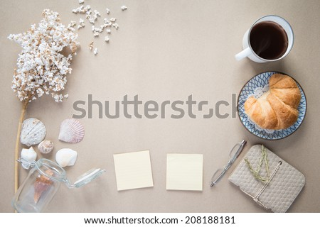Office desk,Working on a Spring Table,vintage background - stock photo