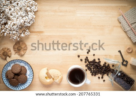 Office desk,Working on a Wooden Table - stock photo