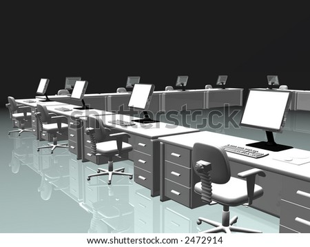 office, desks and chairs with lcd screen, keyboard and mouse. Teamwork, internet communication concept.