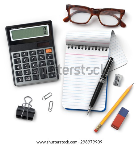 Office desktop.Calculator.Notepad.Pen.Glasses.Clip.Pencil.Sharpener.Eraser.Realistic 3D rendering.Isolated on white background.Top view. - stock photo