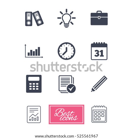 office documents business icons accounting calculator stock