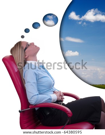 Office dreaming, blond business woman in red chair on white background, sky added as concept