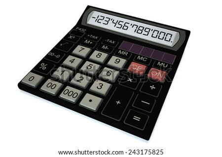Office electronic black calculator isolated on white background - stock photo