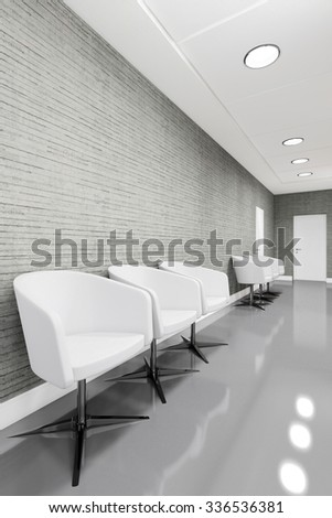 Office Entrance Area interior with armchair 3D illustration - stock photo
