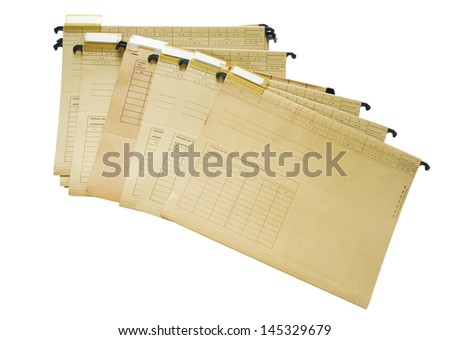 office file folders, index folder, isolated on white background - stock photo