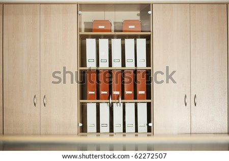 office filing cabinet with shelves - stock photo