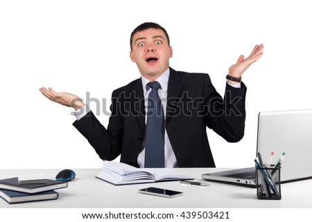 Office, finances, internet, business, success and people concept-Shocked businessman in panic isolated on white background - stock photo