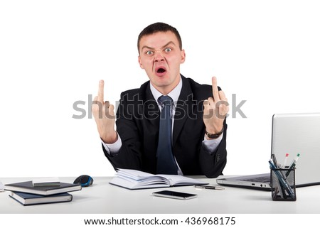 Office, finances, internet, business, success and stress concept-Angry businessman showing you the middle fingers isolated on white background - stock photo
