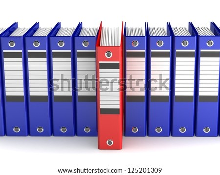 Office folders for papers. Isolated folders on a white background. Archive. Many folders in 3-d visualization