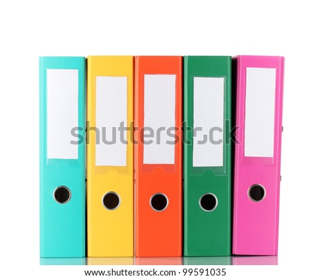 Office folders isolated on white - stock photo