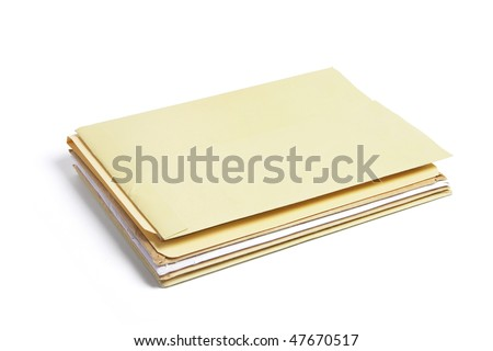 Office Folders on Isolated White Background - stock photo