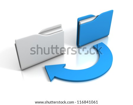office folders with cycle arrow on white background - stock photo