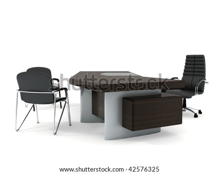 Office furniture set isolated on white background - stock photo