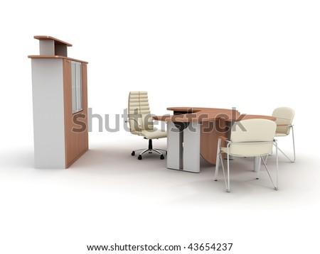 Office furniture set isolated on white background - stock photo