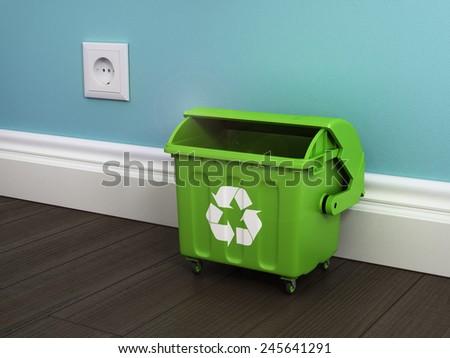 Office garbage near metal basket. - stock photo