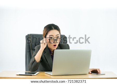 Office girl acted shocked when the sales made good money while working in the office,With isolated white background, Business concept.