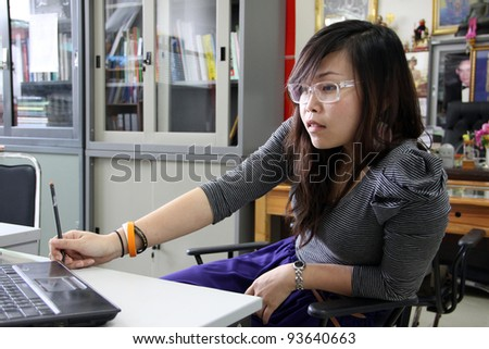 Office girl at work - stock photo