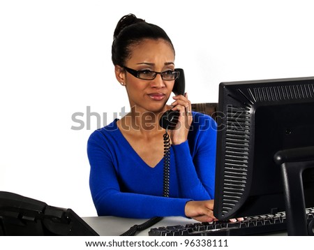 office girl concerned or annoyed - stock photo