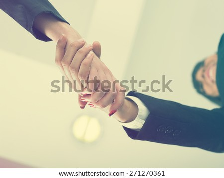Office Handshake Handshaking low angle top - stock photo