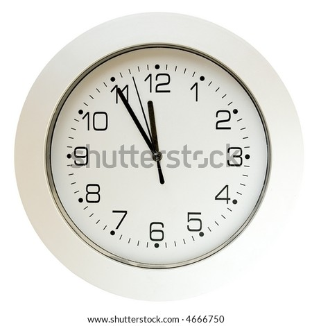 Office, home, or school wall clock, 5 minutes to twelve