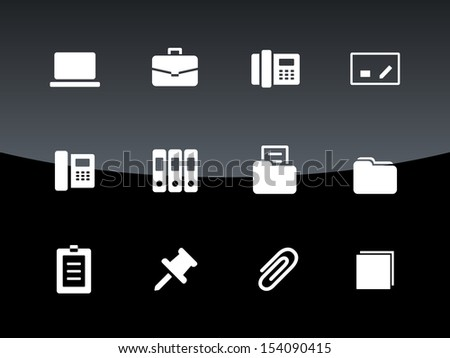 Office icons on black background. See also vector version. - stock photo